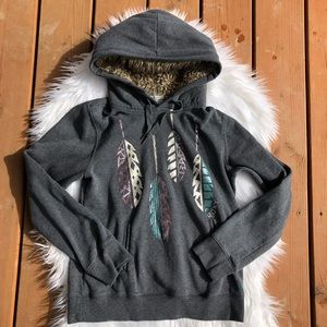 [Roxy] Girls Gray Hoodie Feather Design - Size M